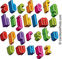 3d font, vector colorful letters, geometric dimensional alphabet