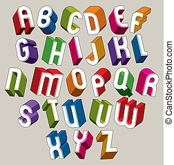 3d font, vector colorful letters, geometric dimensional alphabet made with round shapes, best for use in advertising and web design.