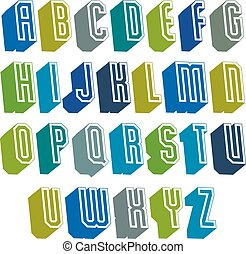 3d font with good style, simple shaped geometric letters alphabet, great font for design, advertising, web and headlines.