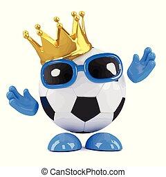 3d Football champ - 3d render of a football wearing a gold...