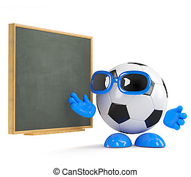 3d Football dude at the blackboard