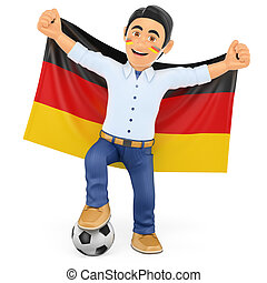 3D Football fan with the flag of Germany