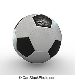 3D Football on White Background