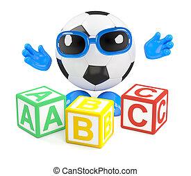 3d Football teaches the alphabet