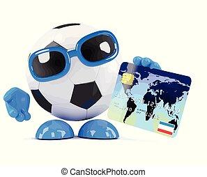 3d Football uses a debit card - 3d render of a football...