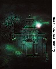 3d, forêt, crypte