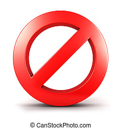 3d forbidden sign, isolated white background, 3d image