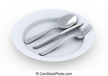 3d fork, spoon and knife in plate - 3d rendering of fork,...
