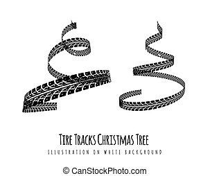 3d, forma., ano, pneu, branca, trilhas, torcido, feito, experiência., novo, ilustração, árvore, espiral