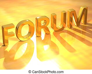 Forum Gold Text  - 3D Forum Gold Text  on yellow text