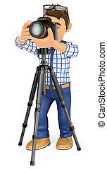 3d, fotógrafo, con, cámara, y, trípode, tomar una foto