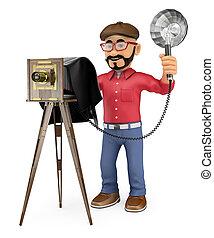 3d, fotógrafo, tomar una foto, con, un, cámara fotográfica de la vendimia