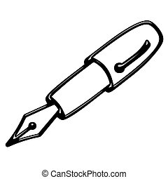 3d fountain pen isolated in white