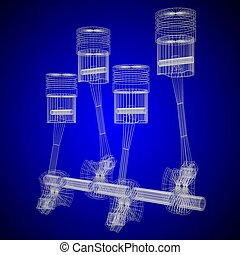 3D four-cylinder car engine, blueprint, wireframe