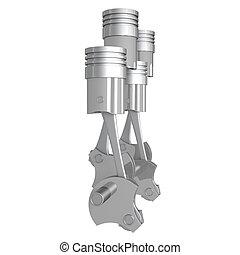 3D four-cylinder car engine, white background