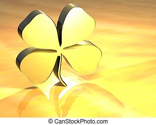 3D Four-leaf Clover Gold Sign over yellow background