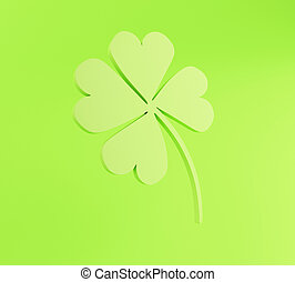 3d Four leaf on green background. St. Patrick's. - 3d...