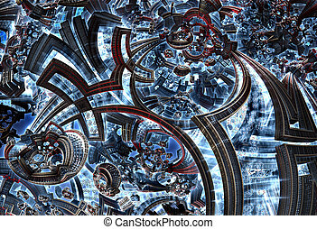3d fractal of future city. Development of civilization in galaxy.