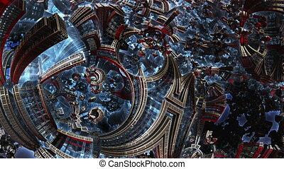 3d fractal of future city. Development of civilization in...