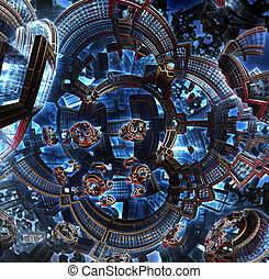 3d fractal of future city. Space ship from metal elements .
