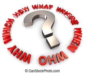 3d, frage, wörter, kreisförmig