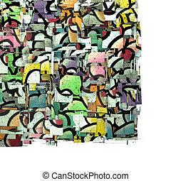 3d fragmented multiple color cupcake graffiti backdrop on white