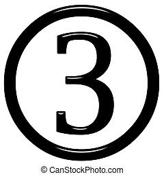 3d framed number 3 isolated in white