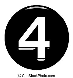 3d framed number 4 isolated in white