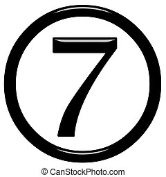3D Framed Number 7 - 3d framed number 7 isolated in white