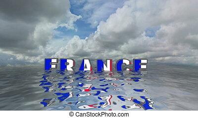 3d, france, vacances, flotter, eau, texte, concept