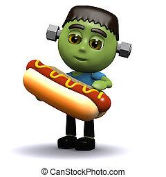 3d Frankenstein eats a hotdog - 3d render of Frankenstein...