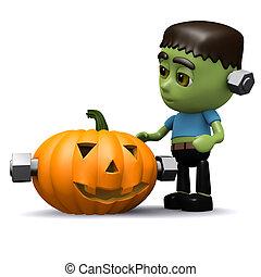 3d Frankenstein Halloween pumpkin - 3d render of...