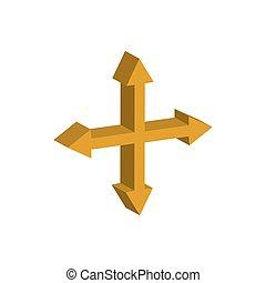 3d, frecce, stile, croce, icona