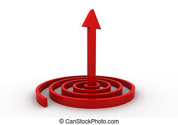 3d, freccia, indicare, in, uno, spirale, uno