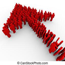 3d, freccia rossa, persone