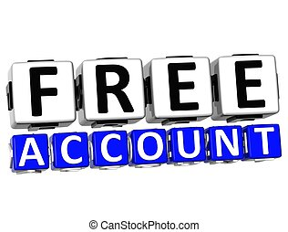 3D Free Account Button Click Here Block Text over white background