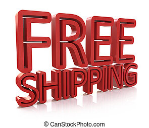 3D Free Shipping text on white background