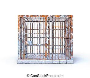 3d, freedom.prison, isolé, white., cellule, illustration., limiter, concept