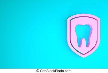 3d, freigestellt, abbildung, icon., logo, rosa, render, dental, hintergrund., schutzschirm, zahnschutz, ikone, minimalismus, blaues, concept.