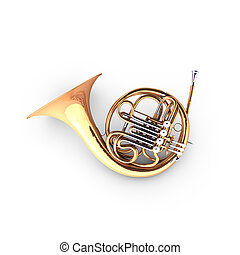 3D french horn (cor). The french horn is a wind instrument.