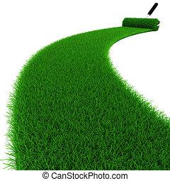 3d, fresco, hierba verde
