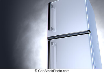 3D fridge - close up - 3D fridge with chrome handle and gray...