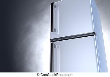 3D fridge - close up - 3D fridge with chrome handle and gray...