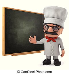 3d Friendly chef teaches catering at the blackboard