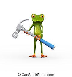 3d frog holding hammer