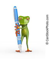 3d frog holding pen