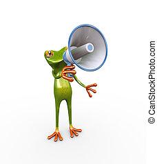 3d frog megaphone announcement
