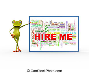 3d frog with hire me wordcloud