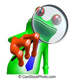3D frog with magnifying glass