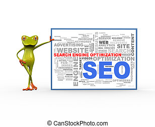 3d frog with seo wordcloud